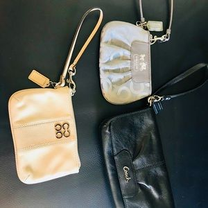 3 Authentic Coach Wristlets- Black, Tan, and Gray